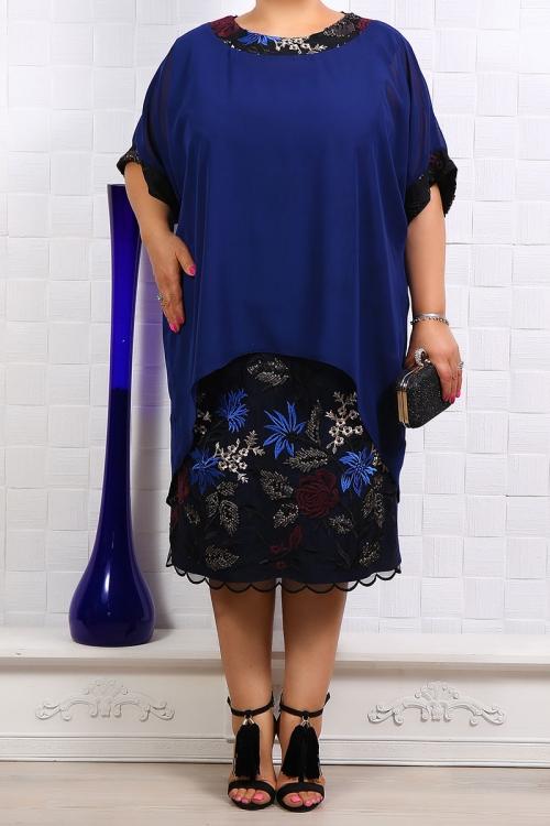 Rochie de ocazie cu voal bleumarin