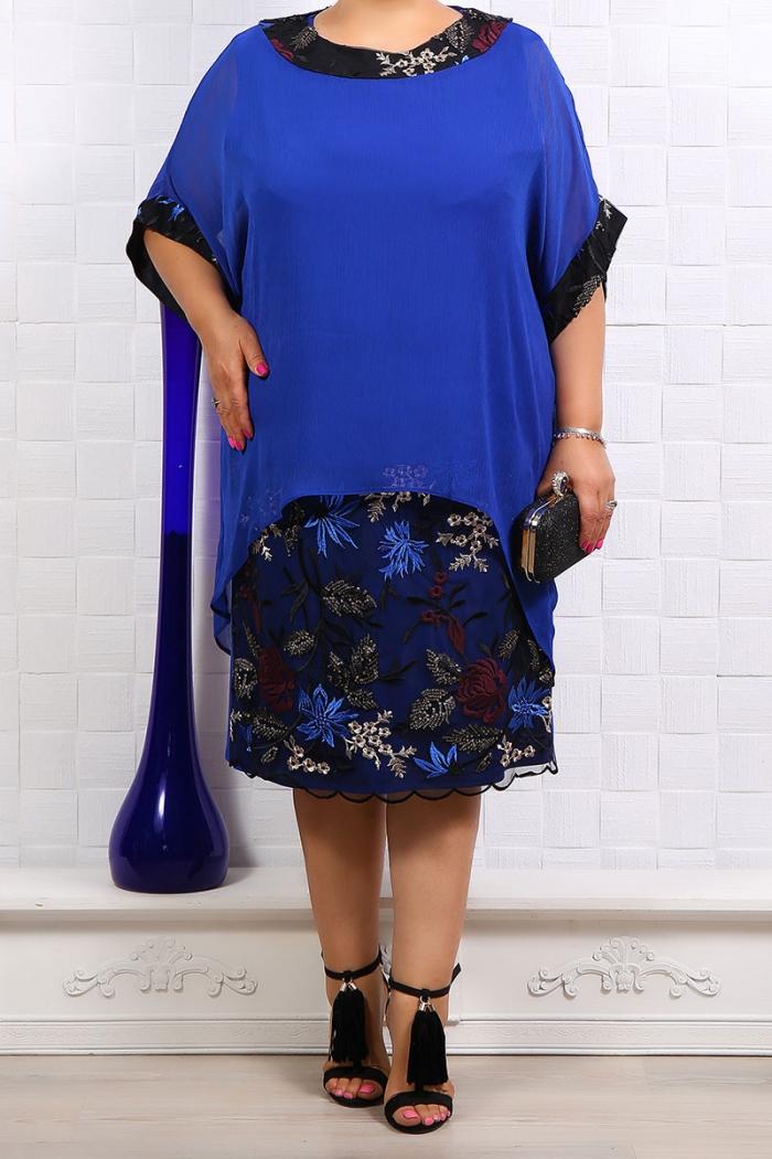 Rochie de ocazie cu voal albastru