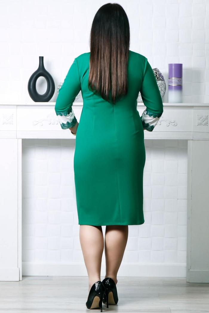 Rochie Verde cu Insertie de Dantela la Maneca