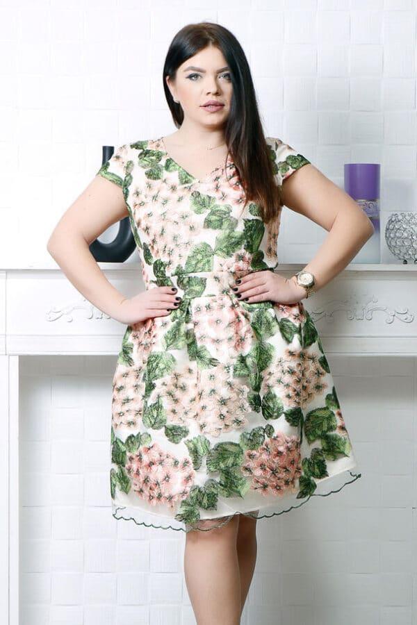 Rochie de ocazie din tull brodat floral