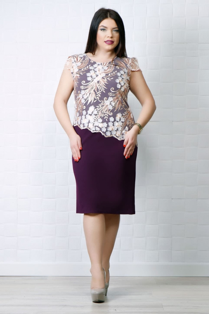 Rochie eleganta Ela Mov Floral MG 0093