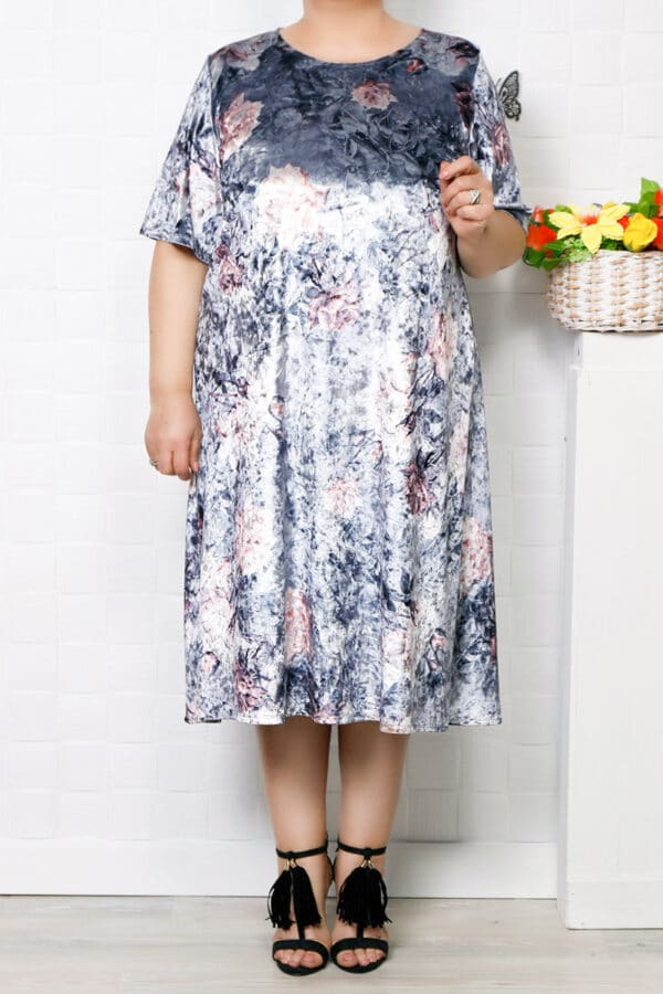 Rochie de catifea gri floral