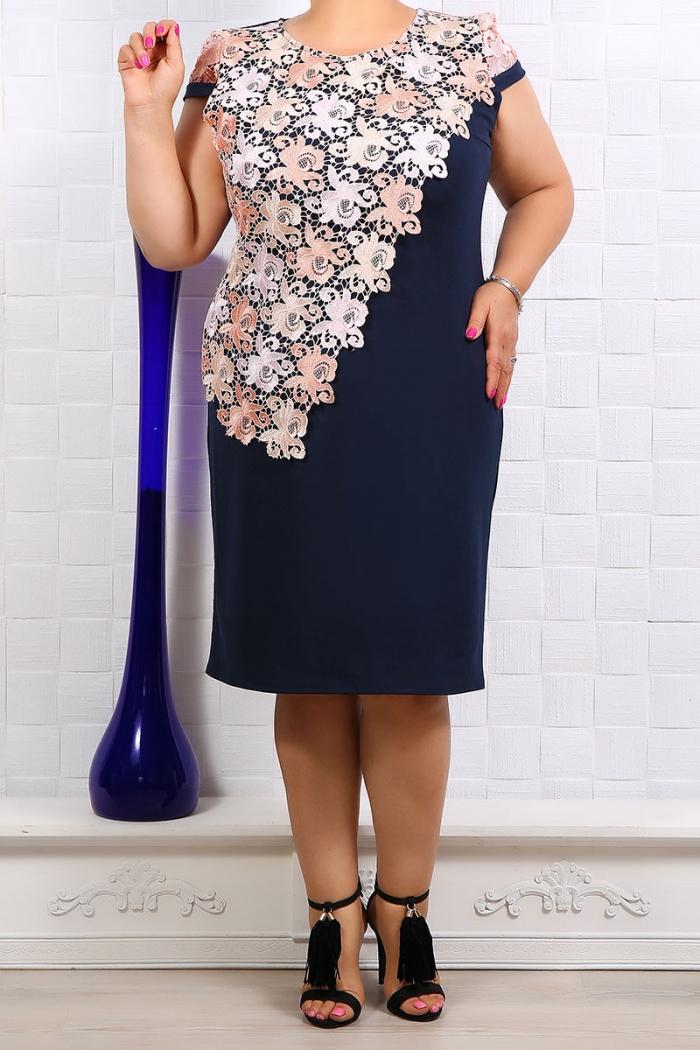 Rochie eleganta Gabriela Bleumarin Floral