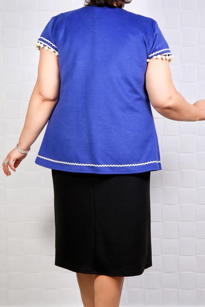 Vesta cu motive traditionale albastru 634