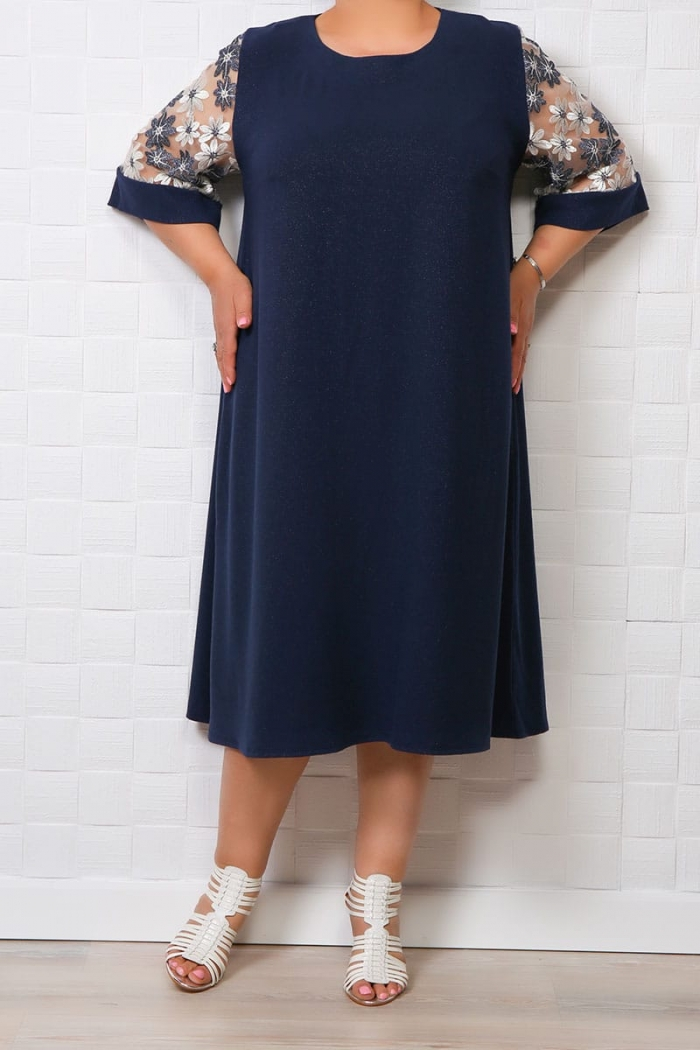 Rochie eleganta cu insertii stralucitoare Bleumarin