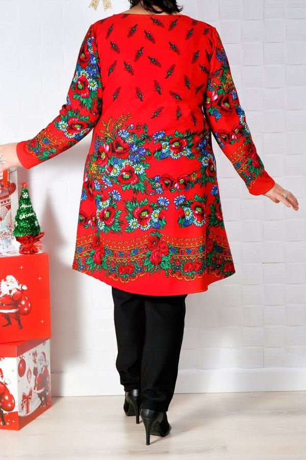 Rochie de zi Ina Imprimeu Rosu