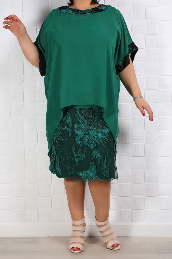 Rochie de ocazie cu voal verde