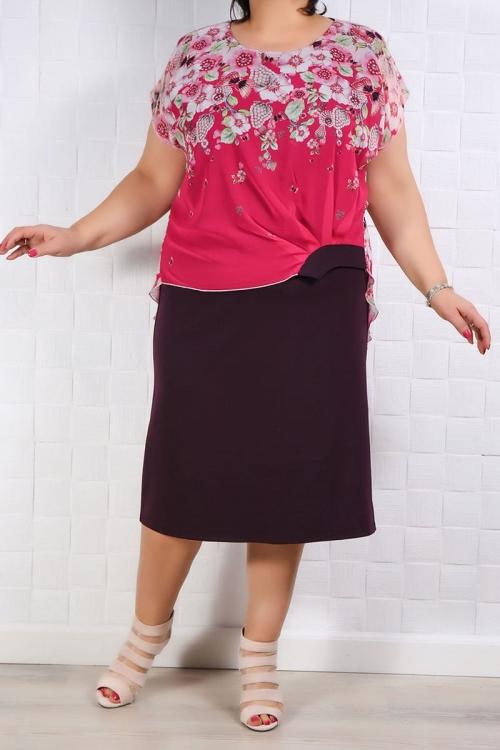 Rochie Eleganta Lia Roze Floral Rochii de Ocazie 81