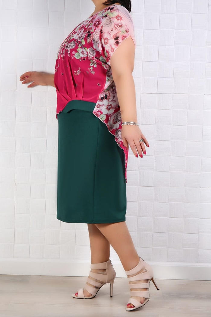 Rochie Eleganta Lia Roze Verde Rochii de Ocazie 83