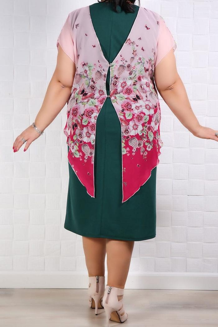 Rochie Eleganta Lia Roze Verde Rochii de Ocazie 85
