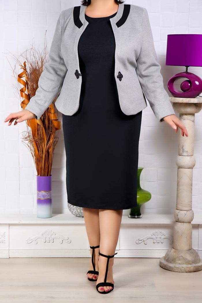 Doua Piese Sacou si Rochie Gri Rochii Perfect Fashion 39