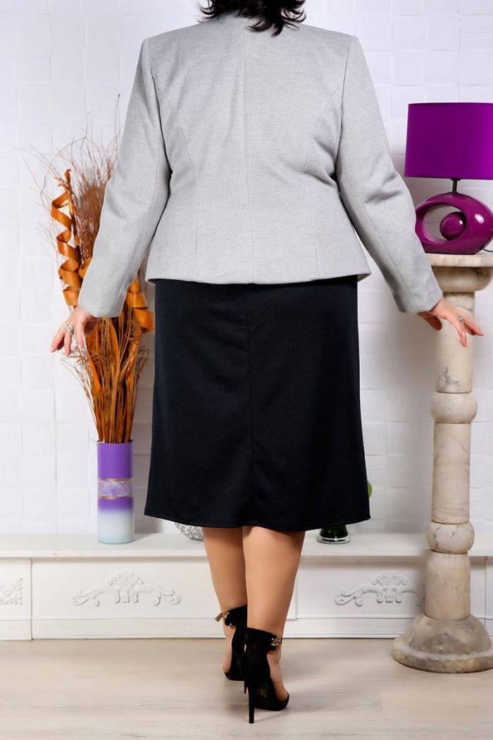 Doua Piese Sacou si Rochie Gri Rochii Perfect Fashion 40